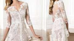 Коротке мереживне весільну сукню (фото)